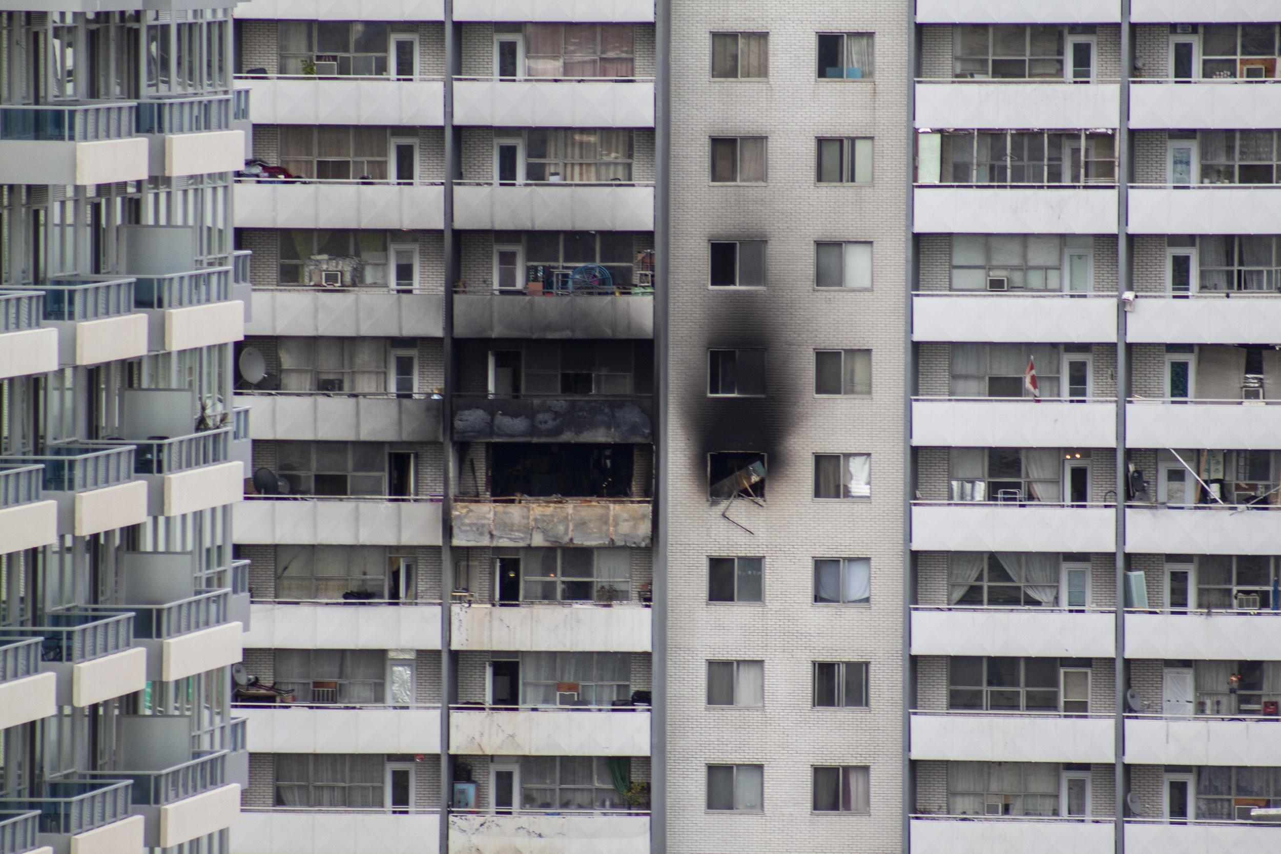 Fire damage at 200 Wellesley St. E. in Toronto pictured on Sept. 25, 2010. (Steve Silva)