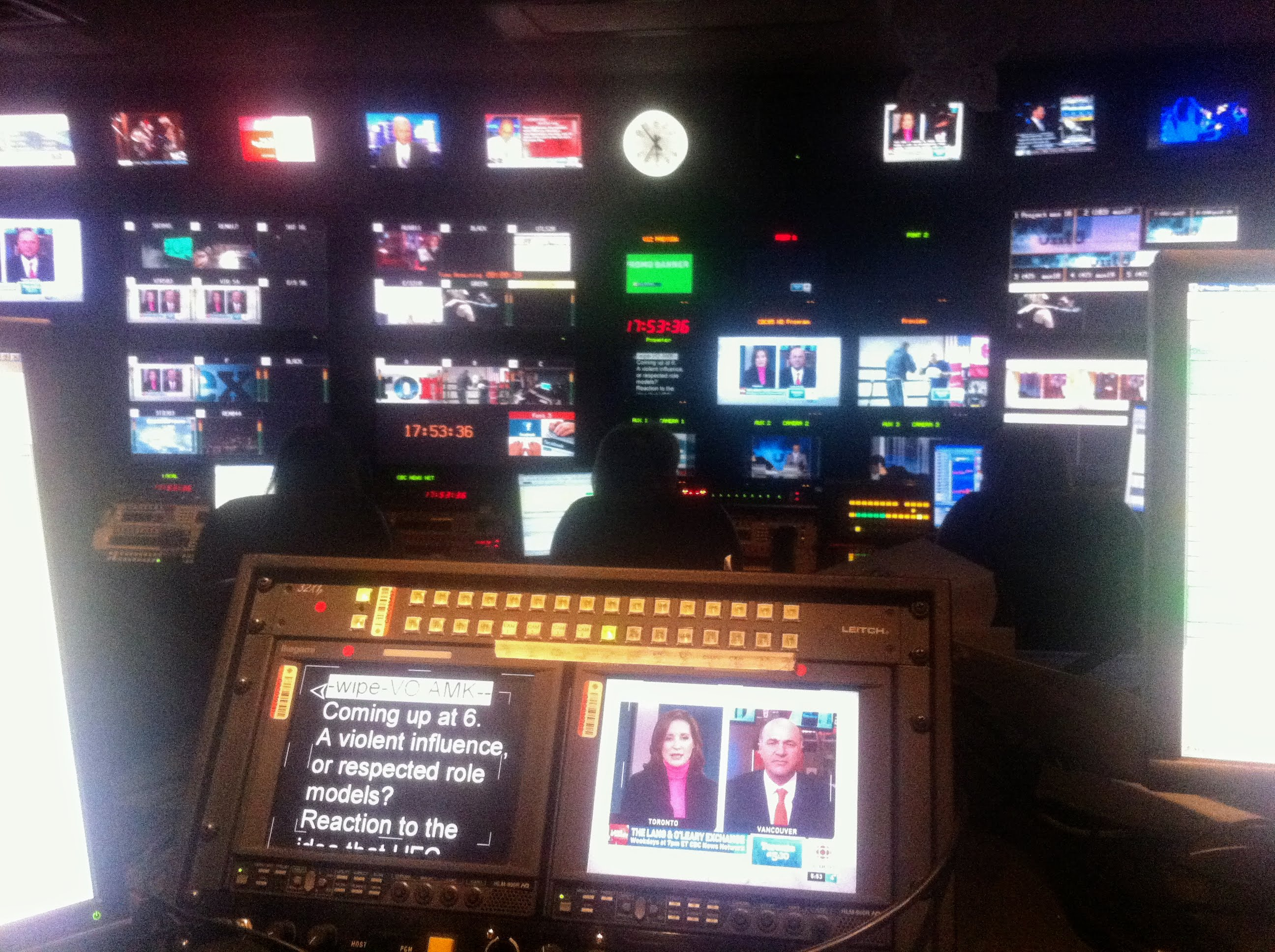 A TV news control room in the Canadian Broadcasting Centre in Toronto pictured on Dec. 5, 2011. (Steve Silva)