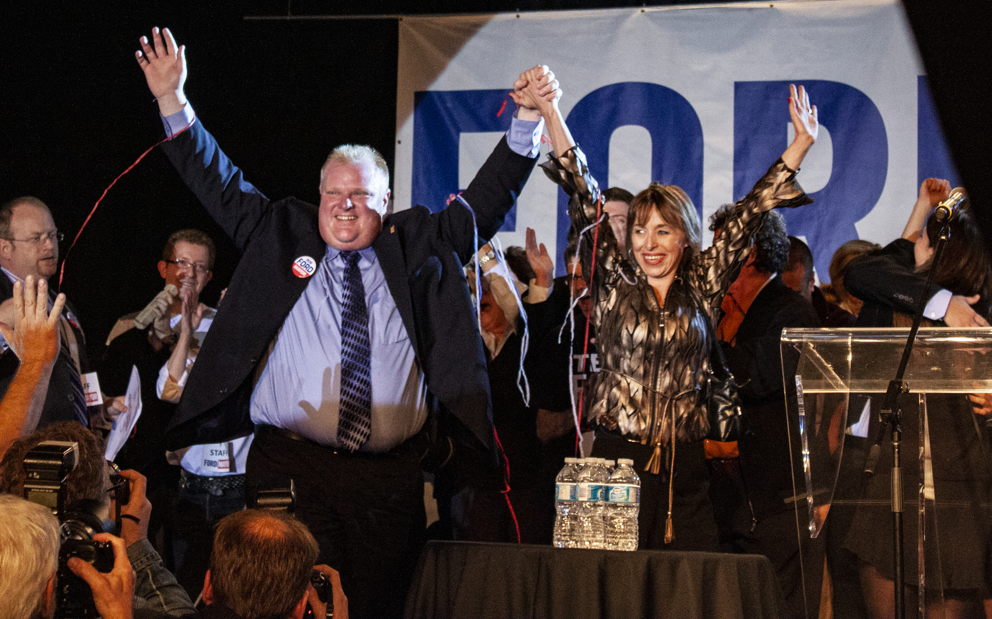 Mayor-elect Rob Ford with his wife, Renata, shortly before he gave his victory speech in Toronto on Oct. 25, 2010. (Steve Silva)