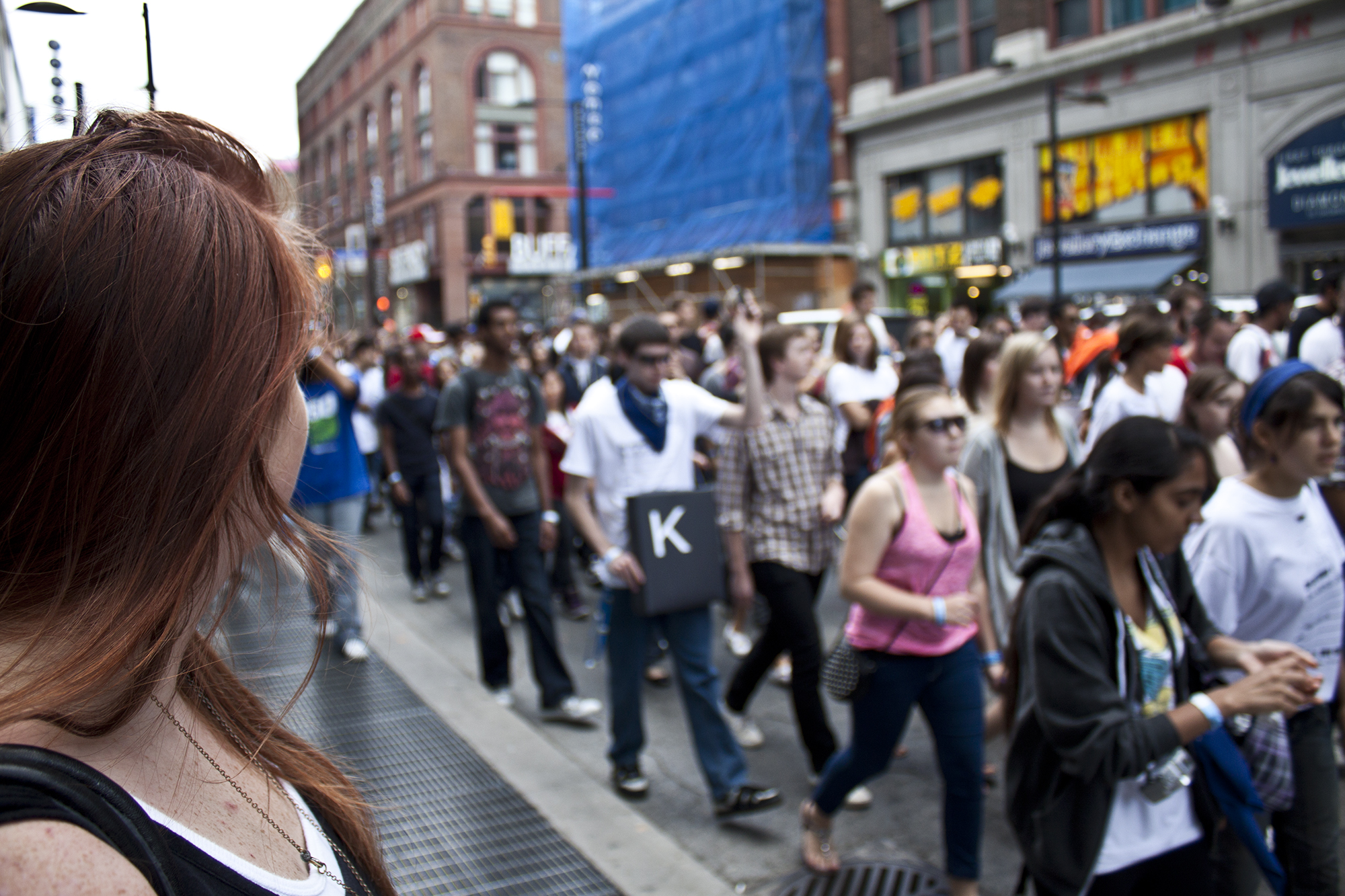 Ryerson University students parade on Yonge Street on Sept. 10, 2010. (Steve Silva)