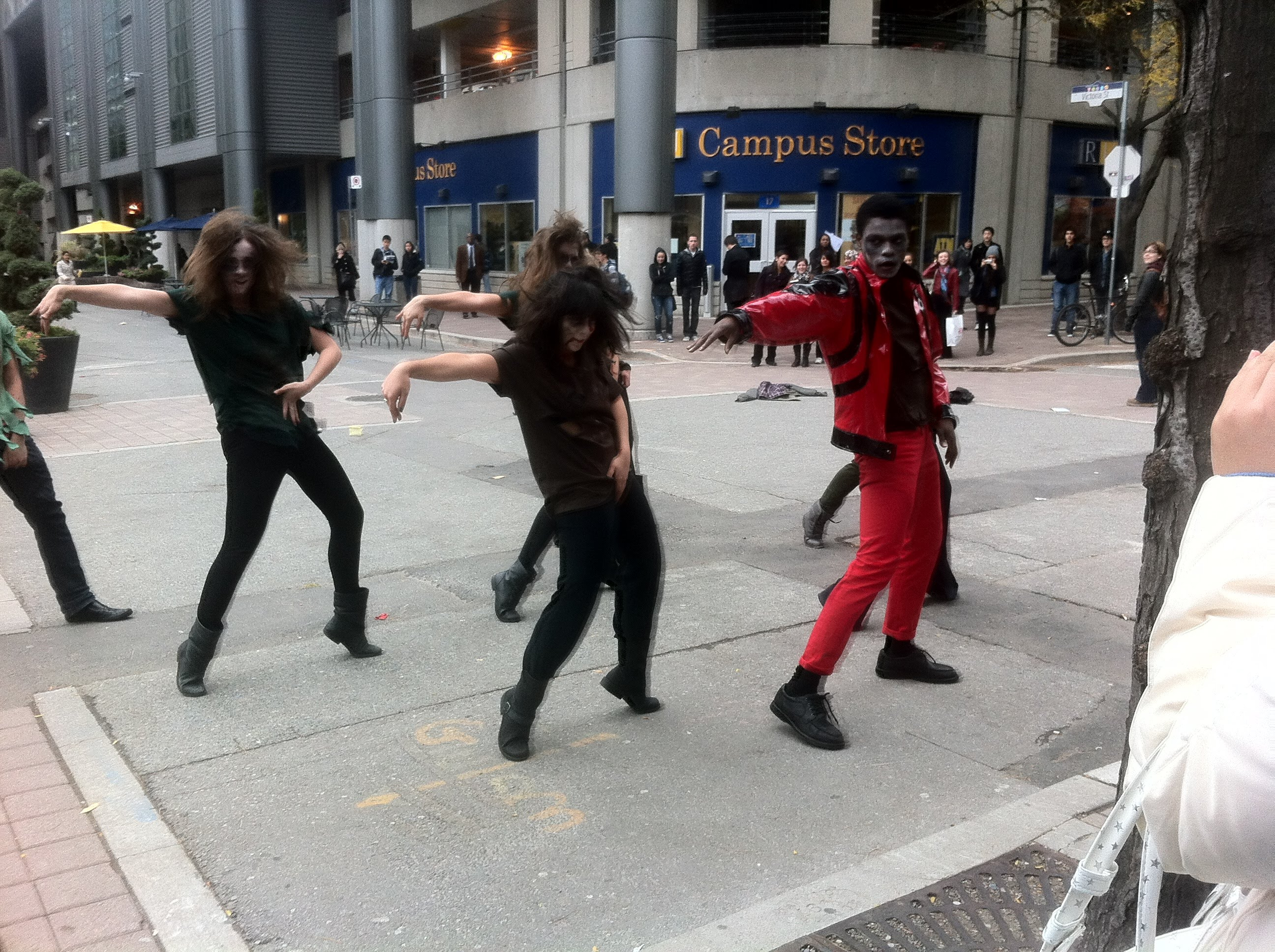 "The ""Thriller"" dance is performed on Gould Street in Toronto on Oct. 27, 2011. (Steve Silva)"