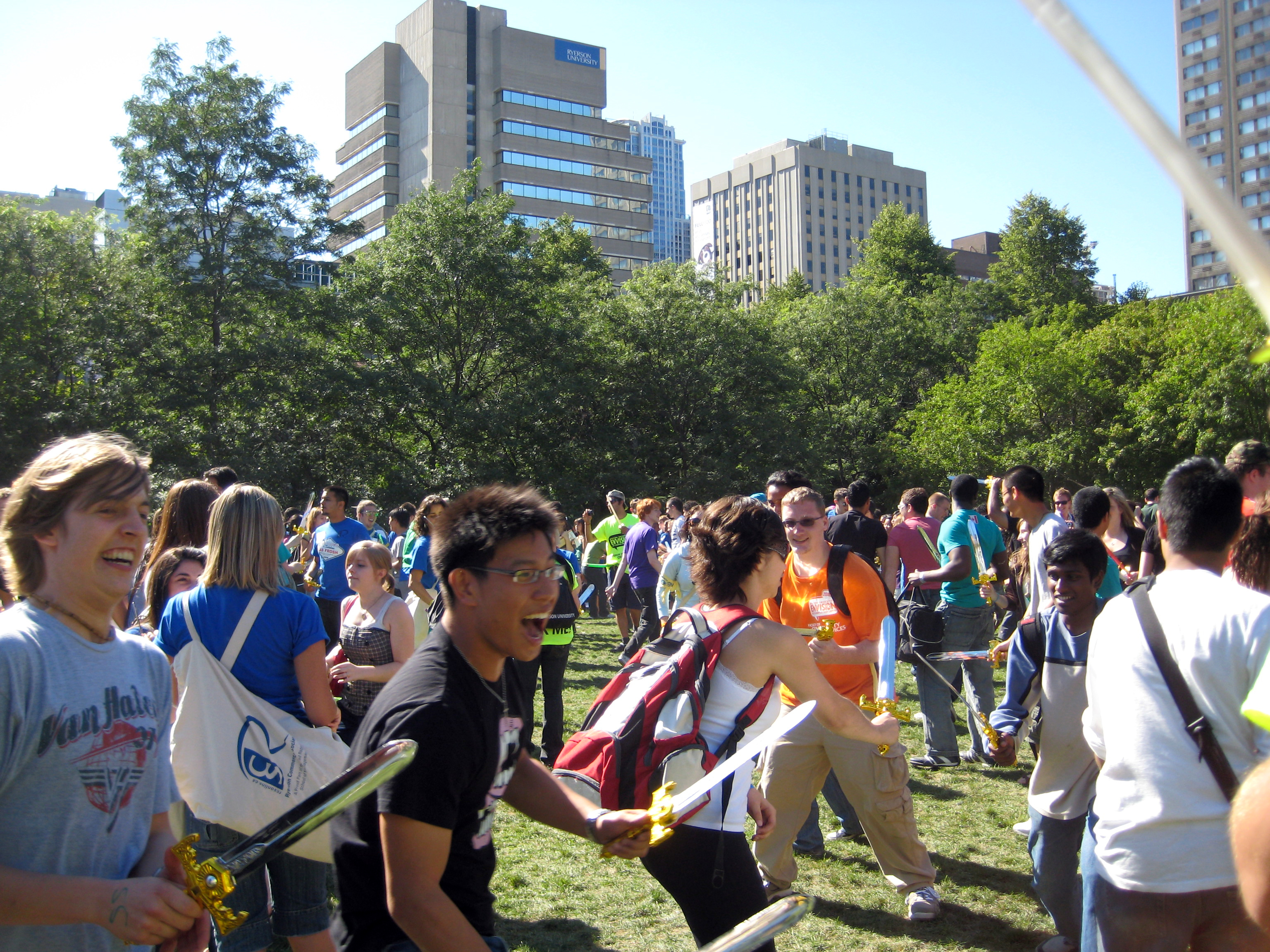 An attempt to break the record for the world's largest sword fight happened during Frosh Week at Ryerson University in Toronto on Aug. 26, 2008. (Steve Silva)
