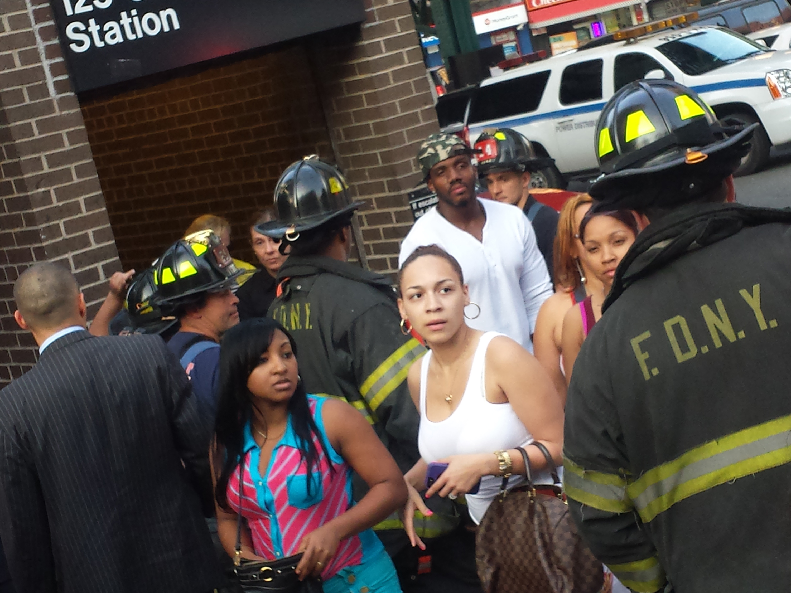 Passengers exit 125th Street station after a nearby 1 subway train derailed in New York, New York, on May 29, 2013. (Steve Silva)