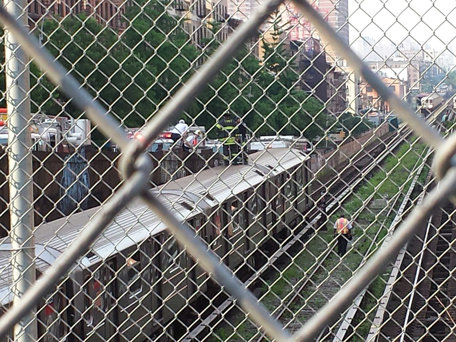 A 1-line subway train derailed in New York, New York, on May 29, 2013. (Steve Silva)