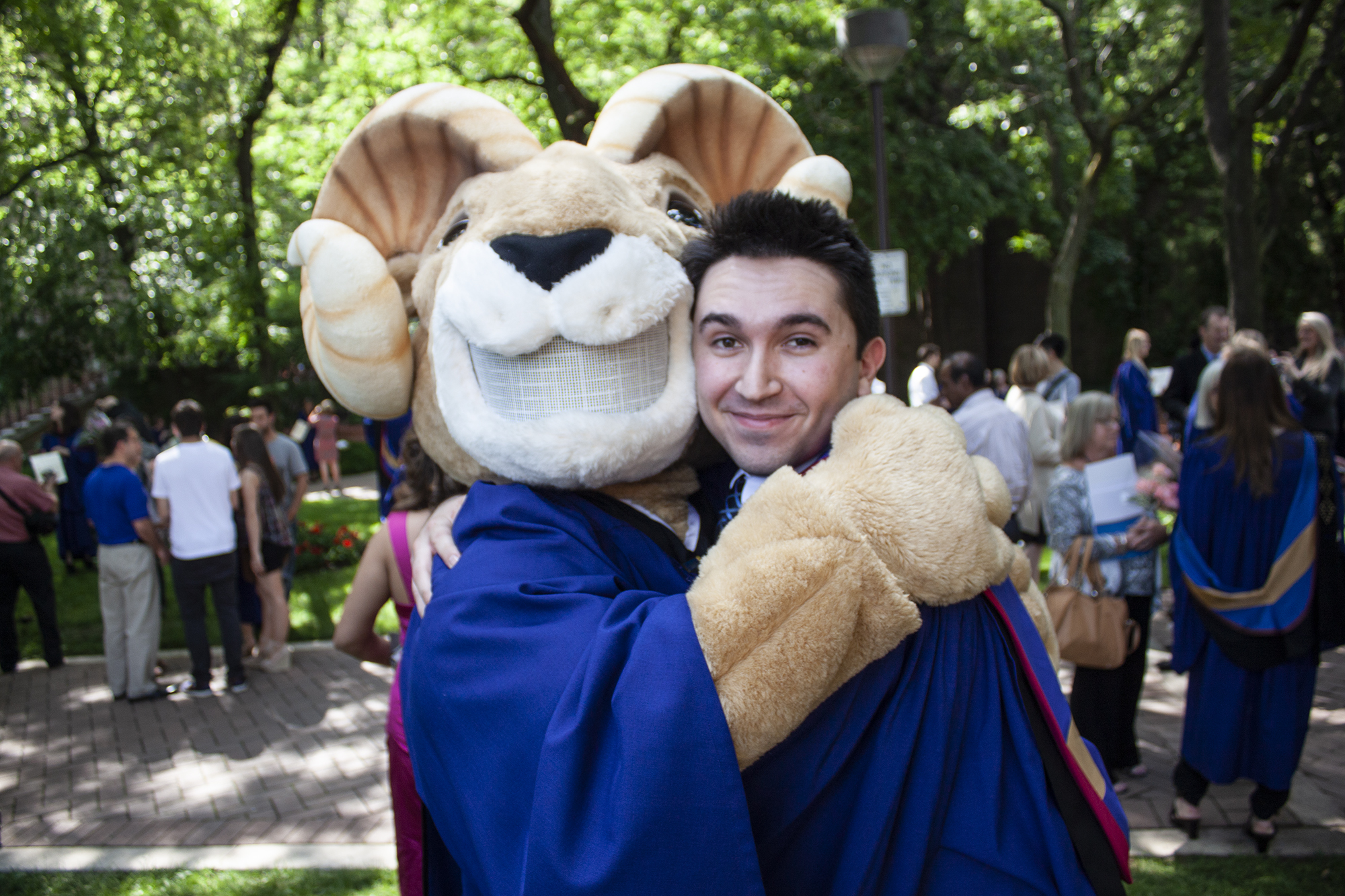 Steve Silva pictured with Eggy the mascot at Ryerson University in Toronto on June 8, 2012. (Supplied)