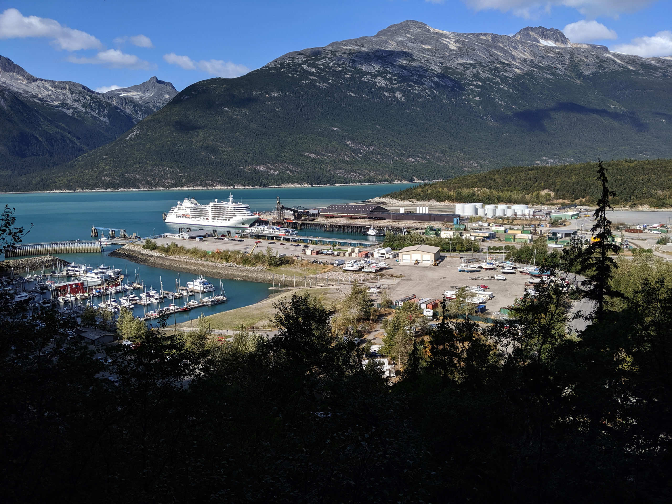 The harbour of Skagway, Alaska, pictured from the Dewey Lakes Trail System on Aug. 18, 2019. (Steve Silva)